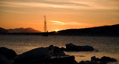 sunset over svalbard